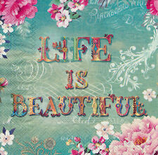 Two Individual Paper Luncheon Decoupage Napkins - Life Is Beautiful