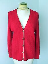 NWT $59 Lands End Red Cable Knit Cotton Cardigan Sweater Gold Metallic Trim L