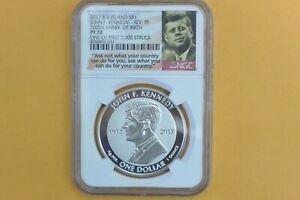 2017 British VI Reverse Proof JFK Silver Dollar NGC PF70 100th Birth Anniversary