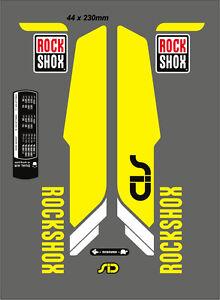 "ROCK SHOX SID  FORK DECAL SET NEON YELLOW VERSION 29"""