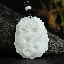 Natural Grade A Jade (Jadeite) Bless Dragon Pendant 50mm H