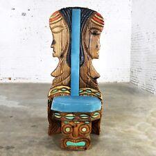 Witco Female Tiki Chair Carved Tiki Females Mid Century Blue Velvet Upholstery