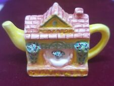 RED ROSE FIGURINE YELLOW COUNTRY HOUSE TEAPOT PORCELAIN VINTAGE RETRO COLLECTOR