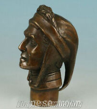 Old Bronze Hand Carved ( poet Dante ) Statues Cane Walking Stick Head