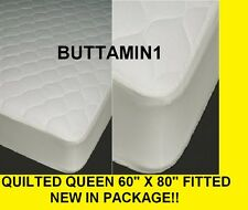 "WHITE New MATTRESS PAD Bed Cover QUEEN (60""x80"") Fitted QUILTED Polyester SOFT"