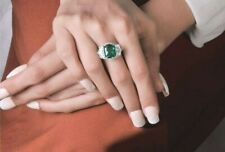 5ct Green Cushion 925 Sterling Silver Three Stone CZ Ring for Women Gift her