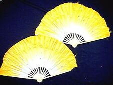 """2 CHINESE 16"""" XL YELLOW WHITE DANCE FAN WAVY EDGE ORIENTAL STAGE CIRCUS PARTY"""