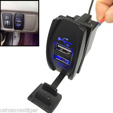 Car Motorcycle Boat Charger 2 Port Socket Plug Dual USB Power 12V 3.1A Blue LED