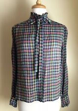 Adolph Schuman For L M 00004000 agnin Vintage Plaid Ruffle Neck Tie Crinkle Blouse