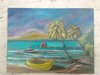 Original Acrylic Painting19X12 Tropical Beach  Canvas Panel,Beach,Coastal Art