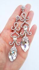 Gorgeous Clear Crystal Gem Silver Long Drop Earrings Bridal Pageant Prom Wedding