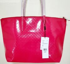 LACOSTE Fuschia Pink red Cerise Patent Large Shopping Tote Bag PVC Logo top zip