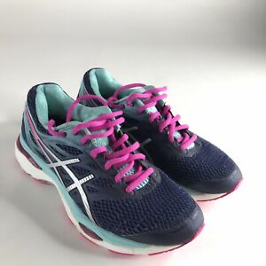 Asics Wome's Gel-Cumulus 18 Blue & Pink Running Shoes Sneakers Size 7 EUR 38