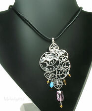 PILGRIM Necklace ART DECO Filigree Flower Silver/Multi-Colour BNWT RRP £39.90