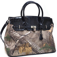 Realtree Women Leather Handbag Camouflage Tote Bag with Croco Tassel Lock Black
