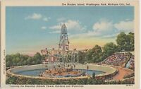 Old MICHIGAN CITY Indiana Ind Postcard MONKEY ISLAND Washington Park Linen