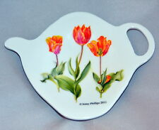 "Tulips Flowers TeaBag Holder Ashdene of Australia Melamine NIB  4"" x 3""  NEW!"
