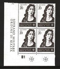 1967 QUARTINA - SMOM - SAN GIOVANNI BATTISTA - 20 GRANI -BOTTICELLI -SASS. N. 21