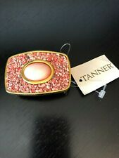 Coral Pieces Belt Buckle with Coral Colored Center Stone Gold Tone Tanner W/Tag