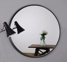 "Metro Black Round Industrial Metal Overmantle Wall Mirror 28"" (70cm)"