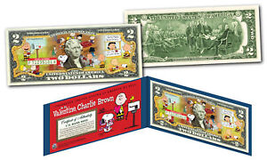 PEANUTS * BE MY VALENTINE, CHARLIE BROWN * Snoopy Officially Licensed $2 US Bill