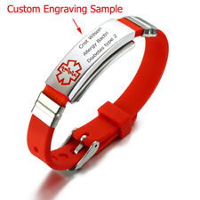 Women Men Kids Medical Alert ID Bracelet Red Silicone Band Custom Free Engraving