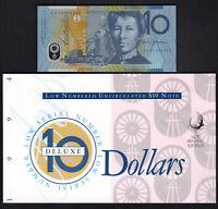 1994 10 Dollars - Fraser/Evans.  Low Serial 005454.. UNC in NPA Deluxe folder