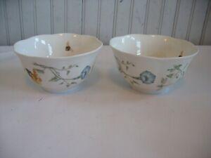 "S/2 LENOX Butterfly Meadow Monarch 5 5/8"" porcelain rice bowls 1999- active"