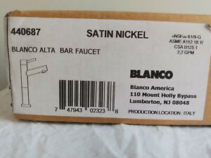 Blanco Alta 440687 - Satin Nickle Bar Faucet - MADE IN ITALY - NEW SEALED