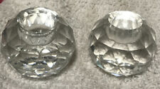 """Swarovski Crystal Round Ball Candle Holder With Old """"S"""" Logo Set Of 2"""