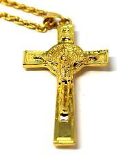 Hombre Mujer 18K Oro Acabado Goth católico Cruz Collar Colgante