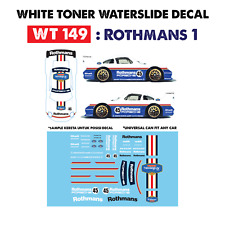 WT149 White Toner Waterslide Decal >ROTHMANS 1 > For Custom 1:64 Hot Wheels