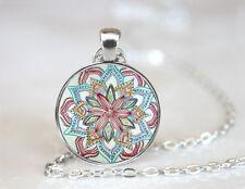 Vintage Mandala Yaga Jewelry Dome Tibetan silver Glass Chain Pendant Necklace
