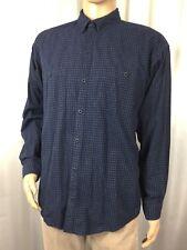 rare PATAGONIA ORGANIC COTTON blue plaid button down long sleeve shirt , men's L