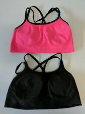 Champion 2 Pack Criss Cross Seamless Sport Bras Pink/Black - No Tags Returned M