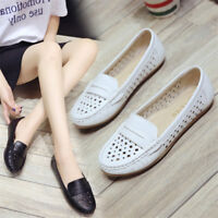 Women Hollow Out Loafers Flat Boat Shoes Breathable leather Casual Pumps Slip-on