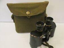 Vintage Military Binoculars in Khaki Carry Case