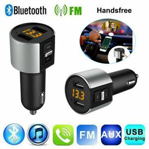 Car Bluetooth Cigarette Lighter Calling FM Radio Transmitter AUX MP3 USB Port