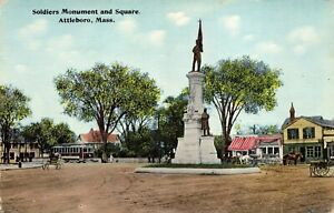 Soldiers Monument and Square, Attleboro, Mass Dirt Street Horses Antiq POSTCARD
