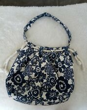Aeropostale comfy canvas drawstring floral navy / white bag