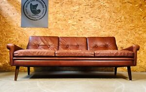 VINTAGE DANISH MID CENTURY COGNAC SVEND SKIPPER  3 PERSON SOFA 1960,s