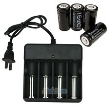 4PCS CR123A 123A CR123 16340 2000Mah Rechargeable Battery BTY Black + UL Charger