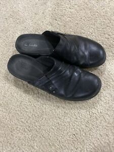 Clark's Women's Size 8 Black Mules/Clogs Double Buckle Leather Slip On