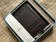 Fossil Wilder Trifold Wallet Men's Dark Brown Leather with Tin Box ML4006201