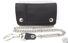 "6"" Leather Biker Wallet Black BiFold with Chain Outer Zipper Pocket USA Made NWT"
