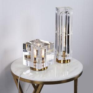 Modern Crystal Column / Cube Table Lamp LED Light Desk Lighting Decor