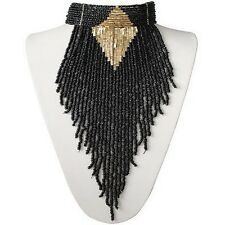 Massive Bohemian Tribal Beaded Fringe Black Layered Choker Necklace Set