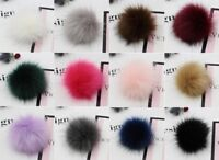 10cm Large Faux Raccoon Fur Pom Pom Ball with Press Button for Knitting DIY Hat