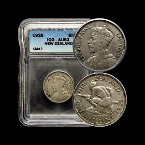 1935 New Zealand Shilling (Silver) - ICG AU53 - Top Pop 🥇 Key Date