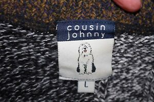 Cousin Johnny Color Block Wool Blend Sweater Sz L BROWN TAN - USA Made